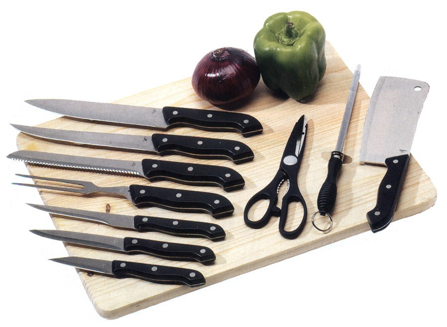 11PC. KNIFE SET WITH WOOD CUTTING BOARD