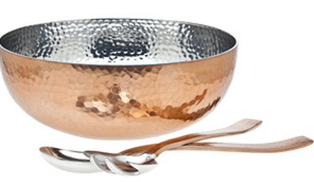 3PC. COPPER-PLATED, HAMMERED STAINLESS STEEL SALAD BOWL SET