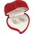 CUBIC ZIRCONIA EARRINGS IN HEART-SHAPED GIFT BOX
