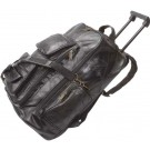 GENUINE LEATHER ROLLING BACKPACK CART